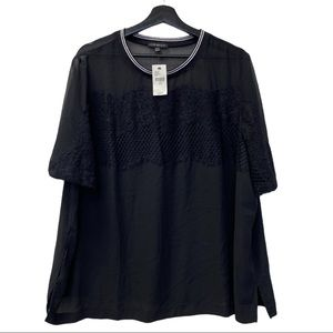 NWT Lane Bryant Mesh Lace Black Blouse Size 18/20